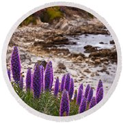 Purple California Coastline Round Beach Towel by Melinda Ledsome