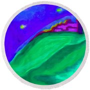 Round Beach Towel featuring the painting Purple Castle By Jrr by First Star Art