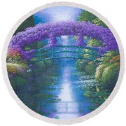Purple Connection Round Beach Towel