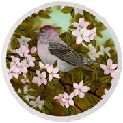 Purple Finch Round Beach Towel