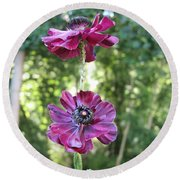 Round Beach Towel featuring the photograph Purple Flowers by HEVi FineArt