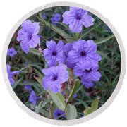 Round Beach Towel featuring the photograph Purple Flowers by Laurel Powell