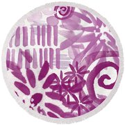 Purple Garden - Contemporary Abstract Watercolor Painting Round Beach Towel by Linda Woods
