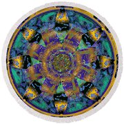 Purple Gold Dream Catcher Mandala Round Beach Towel