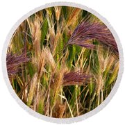 Purple Grasses Round Beach Towel