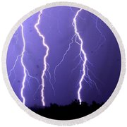 Purple Rain Lightning Round Beach Towel