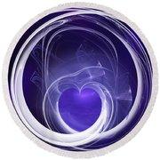 Round Beach Towel featuring the digital art Purple Heart by Menega Sabidussi