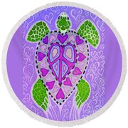 Purple Heart Turtle Round Beach Towel