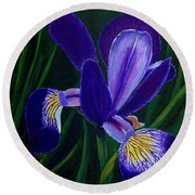 Round Beach Towel featuring the painting Purple Iris by Barbara Griffin