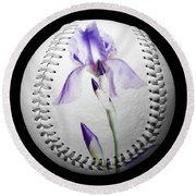 Round Beach Towel featuring the photograph Purple Iris High Key Baseball Square by Andee Design