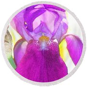 Purple Iris Watercolor Round Beach Towel