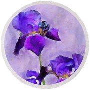 Purple Irises - Painted Round Beach Towel