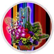Purple Lady Flowers Round Beach Towel