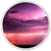 Purple Lightning Panorama Round Beach Towel