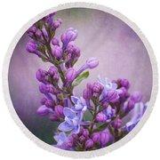 Purple Lilacs Round Beach Towel by Bianca Nadeau