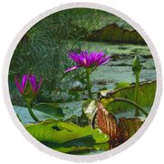 Purple Lotus On The Pond Round Beach Towel by Nadalyn Larsen