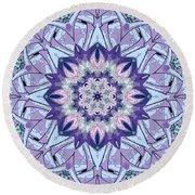 Round Beach Towel featuring the digital art Purple Meditation Mandala by Deborah Smith