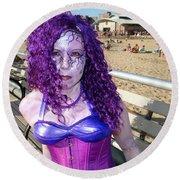 Round Beach Towel featuring the photograph Purple Mermaid by Ed Weidman