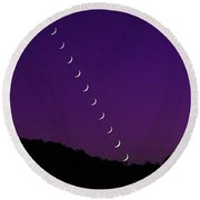 Purple Moon Setting In West Round Beach Towel