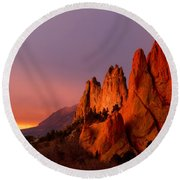 Round Beach Towel featuring the photograph Purple Morning At Garden Of The Gods by Ronda Kimbrow