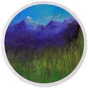 Purple Mountains By Jrr Round Beach Towel by First Star Art