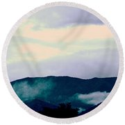 Purple Mountains Majesty Blue Ridge Mountains Round Beach Towel by Kathy Barney