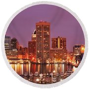 Purple Night In Baltimore Round Beach Towel
