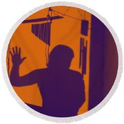 Purple Orange Figure Shadow Round Beach Towel