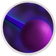 Purple Orb Round Beach Towel