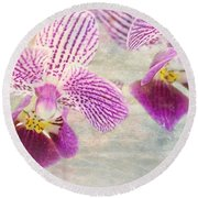 Purple Orchid 2 Round Beach Towel