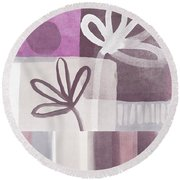 Purple Patchwork- Contemporary Art Round Beach Towel by Linda Woods
