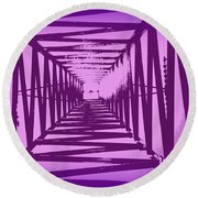 Purple Perspective Round Beach Towel by Clare Bevan