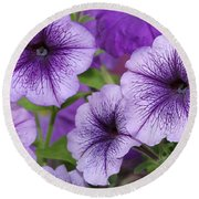Purple Petunias Round Beach Towel