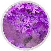 Purple Phlox Round Beach Towel by Lena Auxier