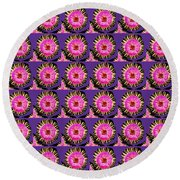 Purple Pink Flower Pattern Decoration Background Designs  And Color Tones N Color Shades Available F Round Beach Towel