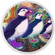 Round Beach Towel featuring the mixed media Purple Puffins by Teresa Ascone