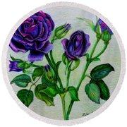 Purple Roses Round Beach Towel
