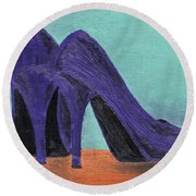 Purple Shoes Round Beach Towel