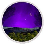 Purple Sky Round Beach Towel by Carol Jacobs