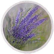 Purple Lavender Summer Round Beach Towel