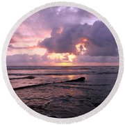 Round Beach Towel featuring the photograph Purple Pink Sunset by Athena Mckinzie