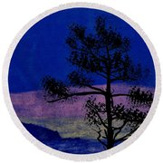 Round Beach Towel featuring the drawing Purple Sunset Bay by D Hackett