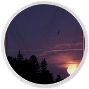 Round Beach Towel featuring the photograph Purple Sunset With Sea Gull by Peter v Quenter