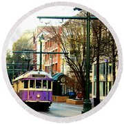 Round Beach Towel featuring the photograph Purple Trolley by Barbara Chichester