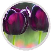 Purple Tulips Round Beach Towel by Heiko Koehrer-Wagner