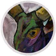 Purple Ugandan Cow Round Beach Towel