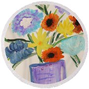 Round Beach Towel featuring the painting Purple Vase Filled by Mary Carol Williams