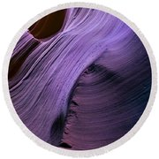 Purple Waves Round Beach Towel