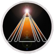 Pyramid Of Light Round Beach Towel