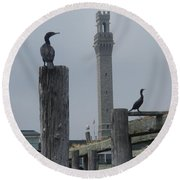 Round Beach Towel featuring the photograph Pyrates On The Dock by Robert Nickologianis